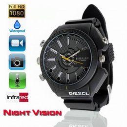 Wholesale 32gb Spy Cam Wrist Watch - IR Night Vision watch camera waterproof Full HD 1080P Wrist Watch Hidden pinhole camera 32GB Sports Watch Spy Cam audio video recorder DVR