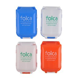 wholesale plastic compartment cases Promo Codes - Portable Pill Case Medicine Storage Box 8 Compartments Makeup Storage Case Container Case Plastic Case Orange Blue 0615006