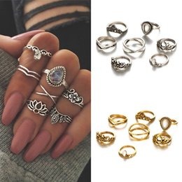 Wholesale Gold Knuckle Ring Set - Punk Style Rings Set Carved Hollow Flower Retro Knuckle Rings Set Hot Sale 7pcs set Silver Gold 2 Styles Delicate Rings Set D12S