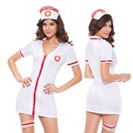 Wholesale Sexy White Spandex Nurse Costume - Sexy Nurse Costume Women Cos Ladies Sleepwear Sex Lingerie Nurse Costume Sexy Nurse Lingerie
