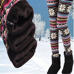 Wholesale Womens Winter Leggings Wholesale - Womens Autumn Winter Leggings Snowflake Elk Printed Stretchy Fleece Lining Warm Thermal Tights Pants Cashmere Christmas leggings Plu Size QT