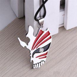 Wholesale Bleach Pendant - Bleach Anime Kurosaki Ichigo Mask Rhinestone Pendant Necklaces Silver Plated Leather Chain Necklaces & Pendants Hot Sale