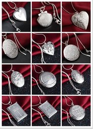 Wholesale Heart Locket Photo - Mix 15 styles 15pcs plating 925 silver plated heart and cross circular love heart Ellipse square pendant necklace photo Locket