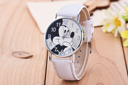 Wholesale Cute Women Nudes - 50pcs 2017 New fashion Colorful watch women children cartoon watches Mickey Cute watches lovely relogio Kids Watches