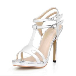 Wholesale Cheap Silver Stilettos - 2017 Real Women Sandals Shoes Summer Style Zapatos Mujer Chaussures Femme Buckle Straps Shoes High Heels Ladies Party Shoes Cheap Modest