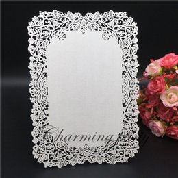 Wholesale Sale Wedding Invitation Card - 50pcs Hot Sale Handmade Menu Cards,Laser Cut Flower Design Wedding Handmade Menu Card Invitation Card Party Table Decoration