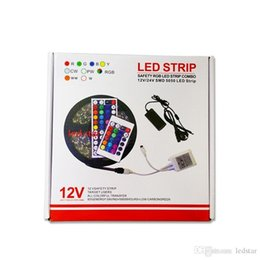 Wholesale Dc Remote Controls - SMD 5050 Led Strips RGB Lights Kit Waterproof IP65 + 44 Keys Remote Control + 12V 5A Power Supply With EU AU US UK Plug