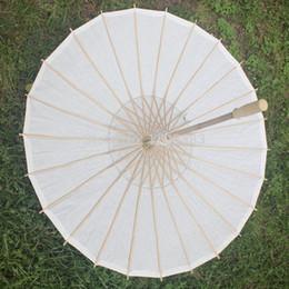 Wholesale White Bamboo Parasols - 50pcs lot New Eco-friendly Bamboo White Color Long-handle Bridal Wedding Paper Parasols DHL Fedex Free Shipping