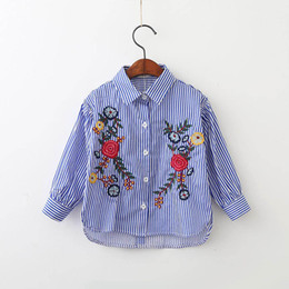 Wholesale Children Blouses - 2017 Baby Girls Striped Shirts Kids Girls Embroidery Floral Blouse Babies Autumn Clothing 2017 children Clothing