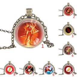 Wholesale Diamond Necklace Photos - SUPER HERO The Flash Necklace Lightning Logo Stainless Steel Leather Chain pendants Men Women's Jewelry Glass Photo cabochon necklace