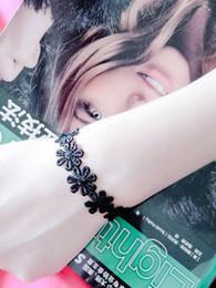 Wholesale Rope Lace Bracelet - Simple Daisies Camellia Bell Round-Kont Imitation Pearl Charm Bracelet Gothic Black Lace Velvet Chain Bracelet For Women