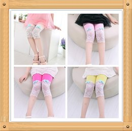 Wholesale Thin Cotton Tights Girls - Children Summer Thin Material Colorful Legging 3 4 Long Lovely Pant Leggings 5 Sizes Girls Fashion Leggings With Bowknot