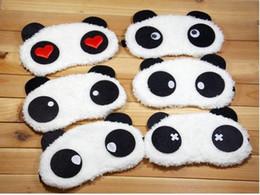 Wholesale Eyes Sleeping Masks - 2017 Comfortable soft velvet shading sleep mask Korean Cute Panda eye shields cartoon eyeshade wholesale