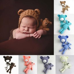 Wholesale Knit Hat Photograph - Baby Photography Props Hats And Bear Toys Set Handmade Knitting Newborn Photograph Prop Little Bear Hat Caps