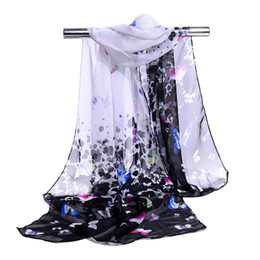 Wholesale Wholesale Butterfly Chiffon Scarves - Silk Chiffon Scarf Long Woman Scarf Summer Pashminas For Women Butterfly Print Scarves