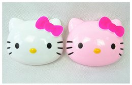 Wholesale Eyeglasses Cases Free Shipping - New Cute Hello Kitty Cartoon Contact Lenses Box Cat Head Plastic Eyeglass Case Free Shipping