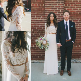Wholesale Cheap Sexy Long Sleeve Tops - Country Sheath Column Wedding Dresses 2017 Spring Summer Sheer Neck Two Pieces Bohemian Lace Long Sleeve Crop Top Country Bridal Gowns Cheap