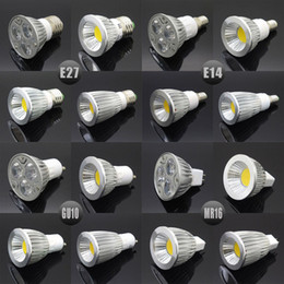 Wholesale 12v Dc Light Bulbs E27 - E27 E14 GU10 MR16 LED COB Spotlight Dimmable 6w 9w 12w 15w Spot Light Bulb high power lamp AC DC 12V or 85-265V
