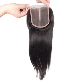 Wholesale Wave Lace Front Closures - Brazilian Straight Lace Front Closure Piece 4x4 Virgin Human Hair Closure Bleached Knots Middle Part Lace Closure with Baby Hair in Stock