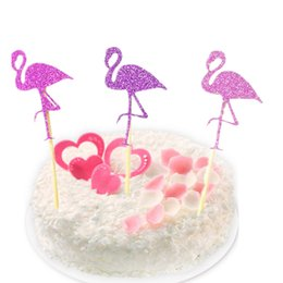 Wholesale Animal Party Cakes - 12pcs lot free shipping Party Cupcake Toppers Flamingo Cakes Topper Picks Wedding Birthday Party Decoration Baby Shower Supplies