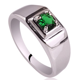 Wholesale Solitaire Emerald Rings - Rhodium Plated Men's Solid 925 Silver Ring New 5.5mm Simulated Green Emerald Man Jewelry Size 6 to 13 R503