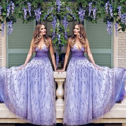 Wholesale Dream Evening Gown - 2017 Dream Lavender Beadings Prom Dresses Plunging Neckline Appliques Zipper Backless Celebrity Gowns Charming Tulle Long Evening Dresses