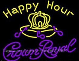 """Wholesale happy hour signs - Happy Hour Crown Royal Neon Sign Customized Handcrafted Real Glass Tube Beer Bar KTV Club Pub Store Motel Display Neon Signs 24""""X20"""""""