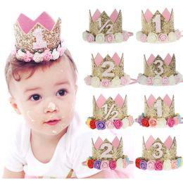 Wholesale Crowns Tiaras Childrens - 2017 New Birthday party Baby crown floral headband Childrens Flower sequin Hair Accessories Girls Headbands kids hair band Infant headwear
