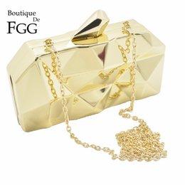 Wholesale Cocktail Evening Bags - Wholesale-Famous Brand Women' Fashion Handbags Sold Gold Metal Evening Clutches Shoulder Handbags Wedding Cocktail Hardcase Box Clutch Bag