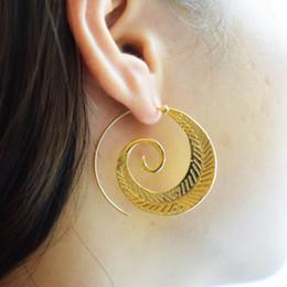 Wholesale Crystal Swirls - 2017 New Fashion Geometric Swirl Hoop Earring for Women Brincos Steampunk Leaf Dangle Earrings Vintage Jewelry boucle d'oreille