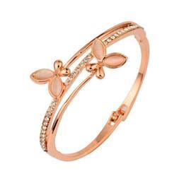 Wholesale Bangle Cuff Bracelet Hinge - TOP QUALITY Copper Alloy Zircon Butterfly Bracelet Women's 18K Rose Gold Bangle Hinged Cuff Bracelets & Bangle order<$18no track