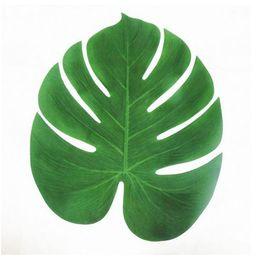 Wholesale Green Hawaiian - Artificial Leaf 35x29cm Tropical Palm Leaves Simulation Leaf for Hawaiian Luau Theme Party Decorations Home garden decor
