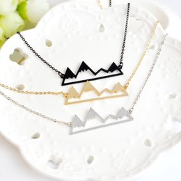 Wholesale Rose Gold Filled Necklace Pendant - 2017 New Simple Necklace Creative Mountain Hollow Pendant Necklace Burst Section Three Peaks Female Ornaments Love Necklace for Women