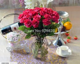 Wholesale Real Touch Flower Arrangement - estive Party Supplies Decorative Flowers Wreaths Rose Red real touch artificial latex roses flower arrangements, wedding party Christmas ...