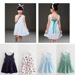 Wholesale Knee Length Chinese Dresses - Girls Dresses Summer Princess Backless Bow Suspender Skirt Baby Clothes Fashion Floral Print Kids Clothing Children European Style New