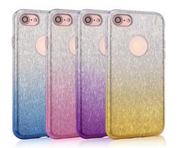 Wholesale Glitter Stickers For Phones - Gradient Glitter TPU Case For iphone 7 7plus 6 6plus Phone 3 in 1 Hybrid Sticker Soft TPU+PC diamond skin Cover
