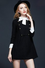 Wholesale Long Sleeve Babydoll Dress Black - 2017 fall clothing new arrival show thin long-sleeved loose babydoll black bow woolen dress female plus size Fashion Solid Stitching skirt