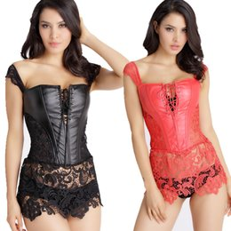 Wholesale Sexy Corsets Women Leather - S-6XL Plus Size Corset Women Black Faux Leather sexy Intimates corselet bustiers gothic body shaper Leathert waist trainer corsets 8280