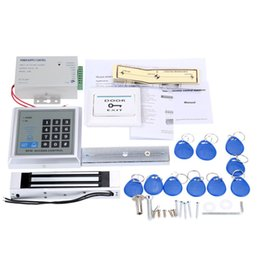 Wholesale Magnetic Card Access Control - Home Security RFID Access Control System Kit Set 180Kg Electric Magnetic Lock Door Switch Power Supply with 10pcs ID Key Fobs