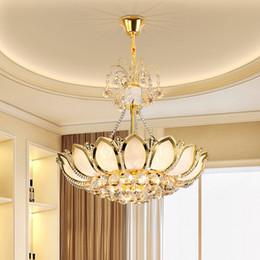 Wholesale Lotus Pendant Lamp - LED chandelier European American royal luxury gorgeous led crystal pendant lotus chandeliers K9 cystal chandelier lamp led pendant lights