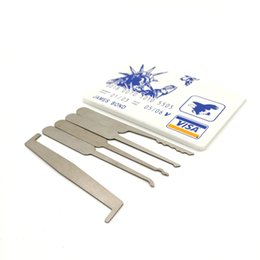 Wholesale James Bond Pick Set - factory direct ! James Bond Pocket Lock Pick Tool Set (5 pcs) Durable Ultra Small Easy Carry Jtron 5PCS Set Card Type