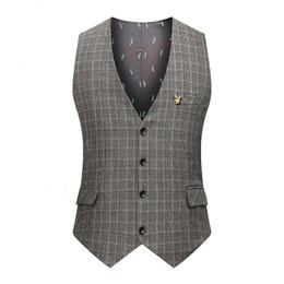 Wholesale Chinese Custom Suits - 2017 Vintage Brown Tweed Vest Herringbone Groom Vests British Style Mens Suit Vests Slim Fit Mens Dress Vest Custom Wedding Waistcoat