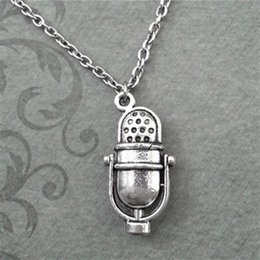 Wholesale Old Microphones - 12pcs lot Vintage Old Fashioned Radio Microphone Inspired Necklace In silver