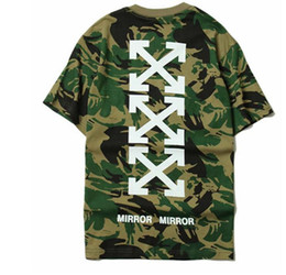 Wholesale Military Style Clothing Women - OFF WHITE C O 13 Trend T-shirts Men Women Fashion Summer Brand Clothing Skateboard Military Army Camouflage Hip Hop Style: Hedging