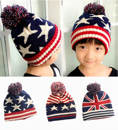 Wholesale Boys Beret Stars - 2017 Autumn Winter Hat Children Kids Flag Cotton Beanies Cap Pom Pom Ball Knitted Wool Warm Hats Stripe and Stars Hats For Kids Christmas