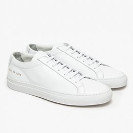 Wholesale Leather Shoes Women England - Original Common Projects by women Shoes Handmade homalocephalus White Genuine Leather low top Casual Shoes England Femme Mujeres shoes