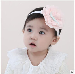 Wholesale Tulle Flowers For Hair - Baby lace flower hair with hairbands small five-pointed star tulle bow hairbands elastic ribbon for headbands three colors can choose
