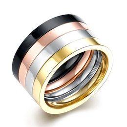 Wholesale Hip Hop Jewelry Wholesale China - High Polish Gold Silver Black Four Layer Titanium Rings For Women Men Wedding Bands Rings 316L Stainless Steel Jewelry Hip Hop Jewelry Gifts