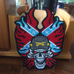 Wholesale Skull Appliques Free Shipping - HOT SALE! 100% Embroidery Rebel Rider Skull American Flag Patch Embroidery Iron On Patch Badge 10 pcs  Lot Applique DIY Free Shipping