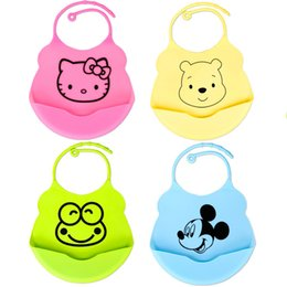 Wholesale Wholesale Baby Aprons - Cute Cartoon Design Baby Bibs Waterproof Silicone Feeding Baby Saliva Towel Newborn Cartoon Waterproof Aprons Baby Bibs